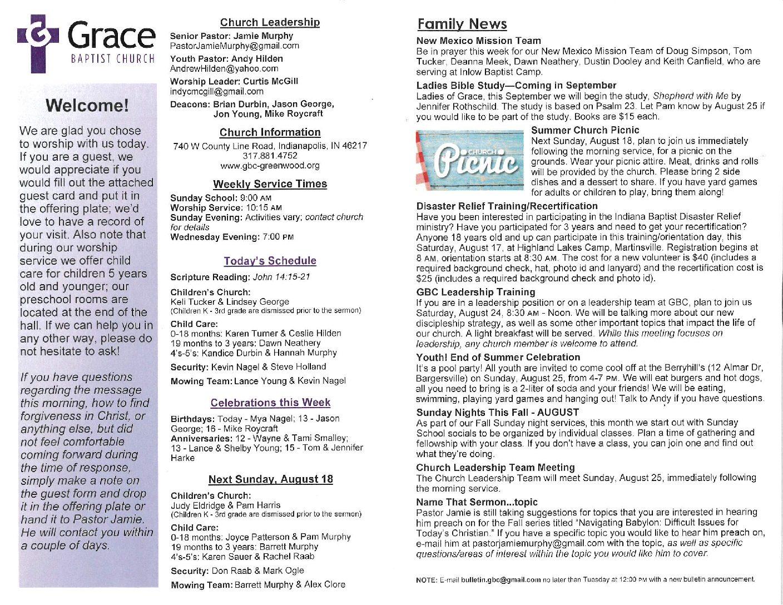 Bulletin - Grace Baptist Church
